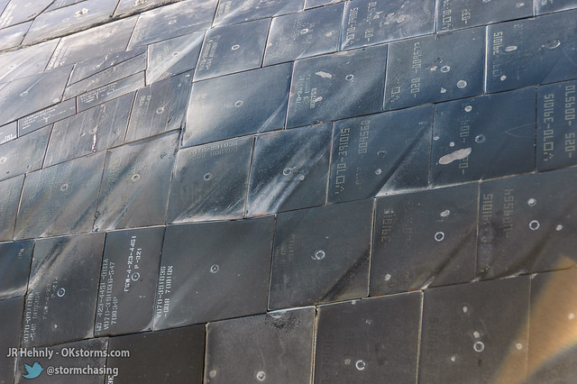 Fri, 11/02/2012 - 14:32 - A close-up of some of the tiles left untouched showing the marks of their recent return from space - November 02, 2012 2:32:47 PM - , (28.5135,-80.6745)
