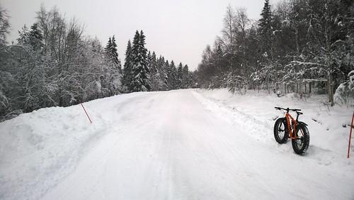 kuusamo talvi tolpanniemi läskipyöräily