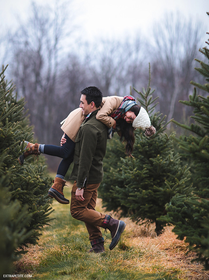 christmas tree farm couple winter outfits sorel