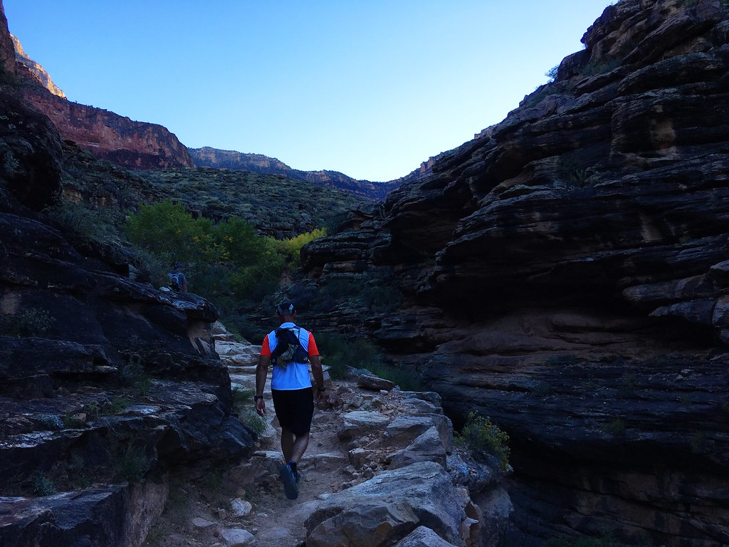 Sunset on the Bright Angel Trail on the 46-mile R2R2R run in the Grand Canyon