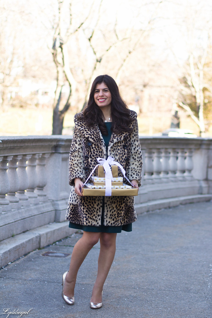 green dress, leopard fur coat, silver pumps, holiday style.jpg