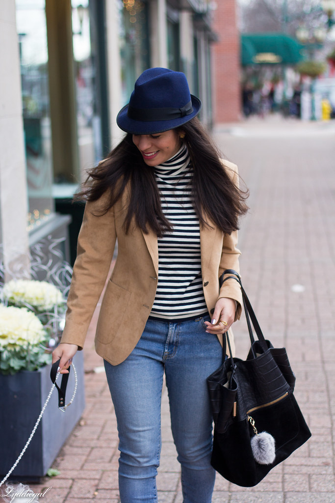 Striped shirt, camel blazer, denim, fedora-2.jpg