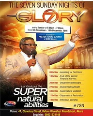 7 Sunday Nights of Glory. GOD IS Set to change Ur life and turn Ur situation round for good. Don't  miss these 7days of glory and you will testify.