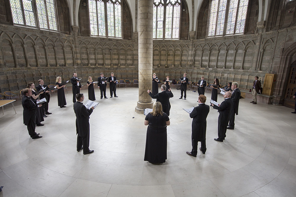 Idaho State University Chamber Choir sings in the Worcester Cathedral Chapter House