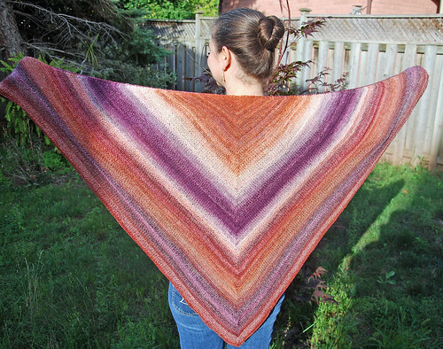 Handknit Diminishing Returns shawl in handspun superwash merino yarn by irieknit