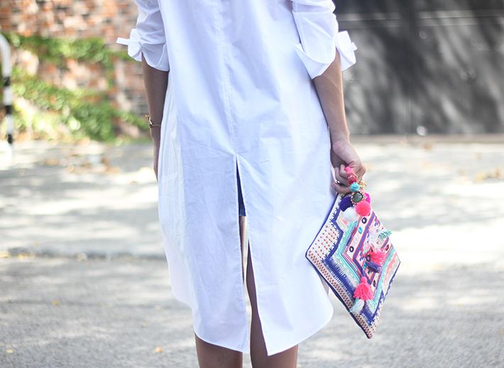 Long Shirt With Denim Skirt Summer Outfit 15