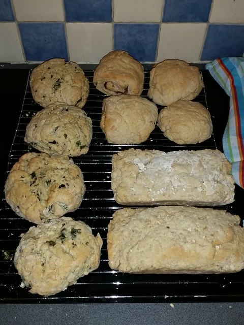 Sept 10, 15 Bake sale food I made in support of the Refugees. 3 kinds of cookies, a tray of brownies, rolled oat bread, white bread, salami bread, and the crowning cheddar -basil-black olive bread. :)