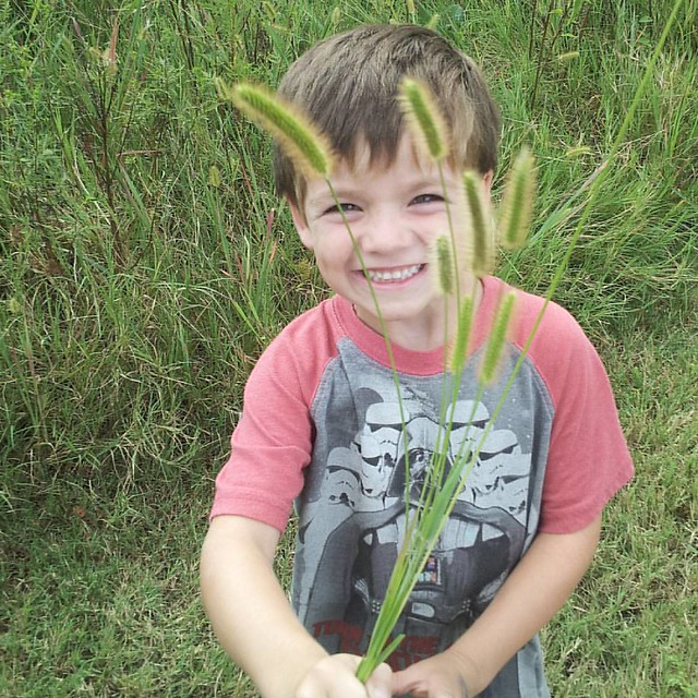 Found the one person who actually finds joy in the weeds blooming. As for me, I'm getting stabby about the pollen situation. #mboys2015