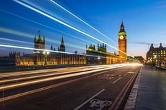 London lights on the Westminster Bridge
