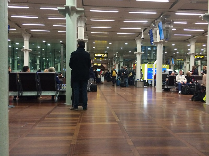 Waiting for Paris train at St. Pancras International station.