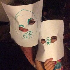 Lily made us matching scary masks. #mask #october #halloween