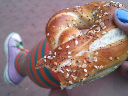 An Everything Pretzel from the Pretzel Bakery