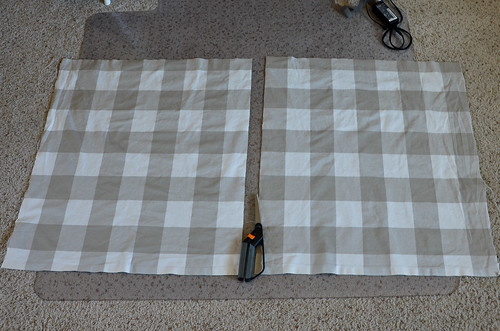 2 Cut in half (for 2 evenly sized curtains)
