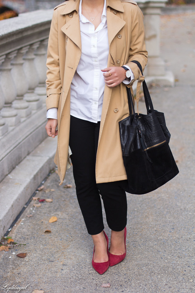 white shirt, black pants, trench, red pumps-13.jpg