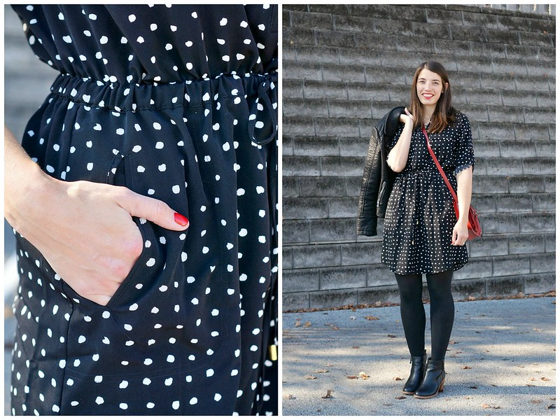 polka dot dress + leather jacket 2