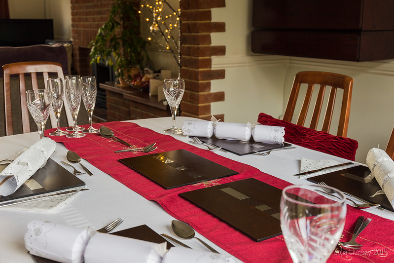 The table is laid ready for an early Christmas dinner