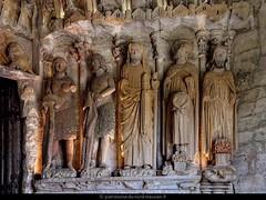 MONT-DEVANT-SASSEY |  L'église Notre-Dame-de-l'Assomption possède le plus ancien portail sculpté conservé de Lorraine (XIIIe siècle). Ces cinq statues représentent des personnages de l'Ancien Testament : Eve, Adam, Moïse, Abraham (et son fils Isaac dont i - Photo of Mont-devant-Sassey