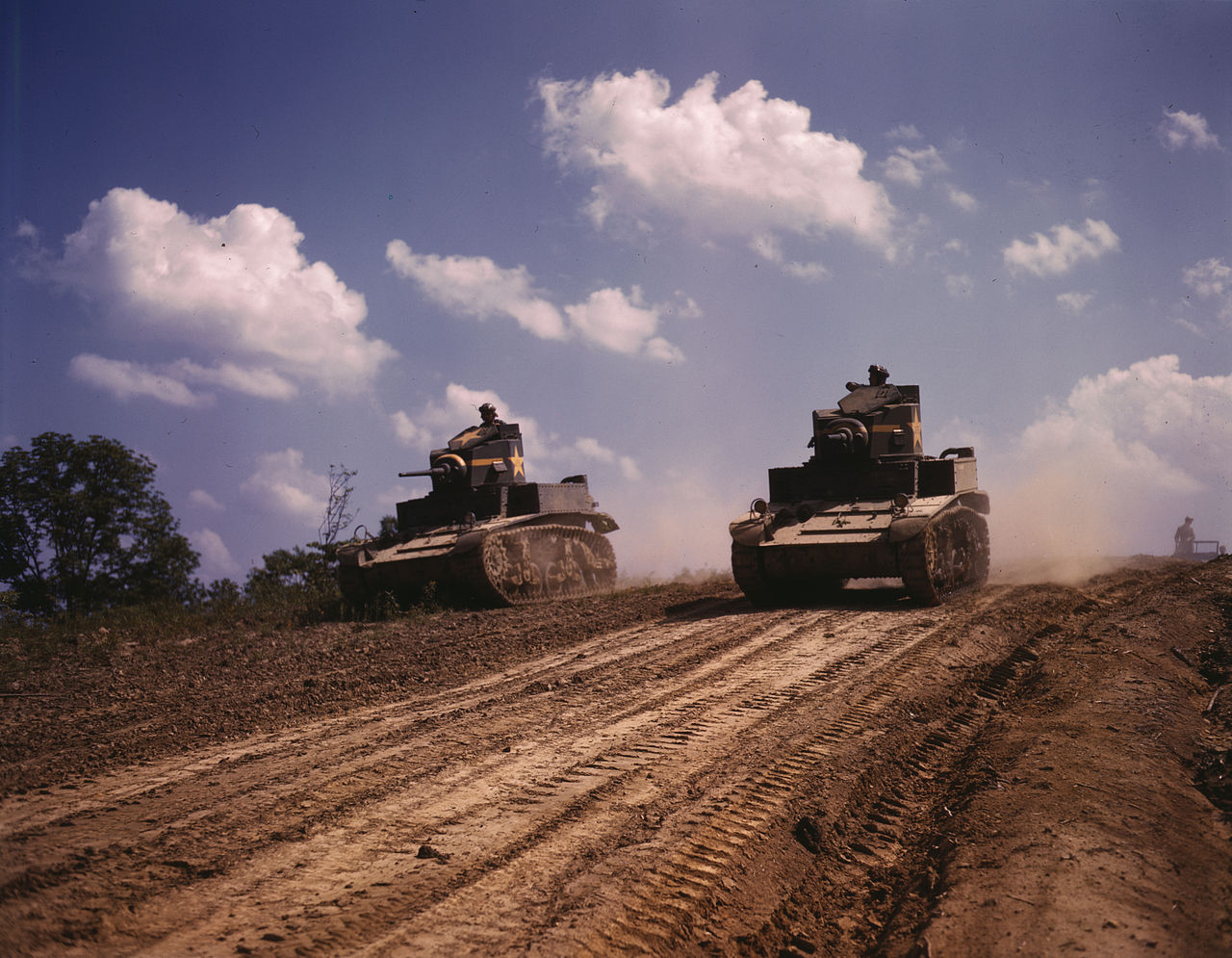 M3 Stuart light tanks at Fort Knox, Kentucky, 1942