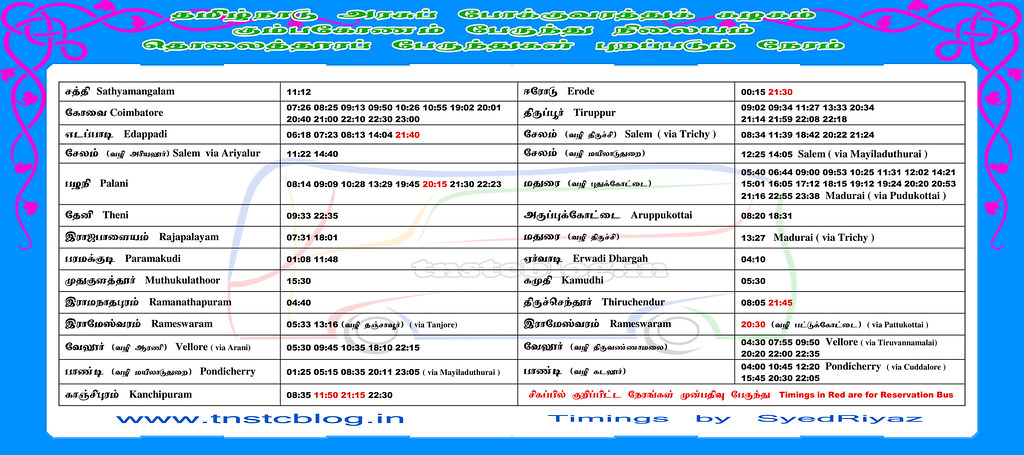 TNSTC Bus Timings at Kumbakonam