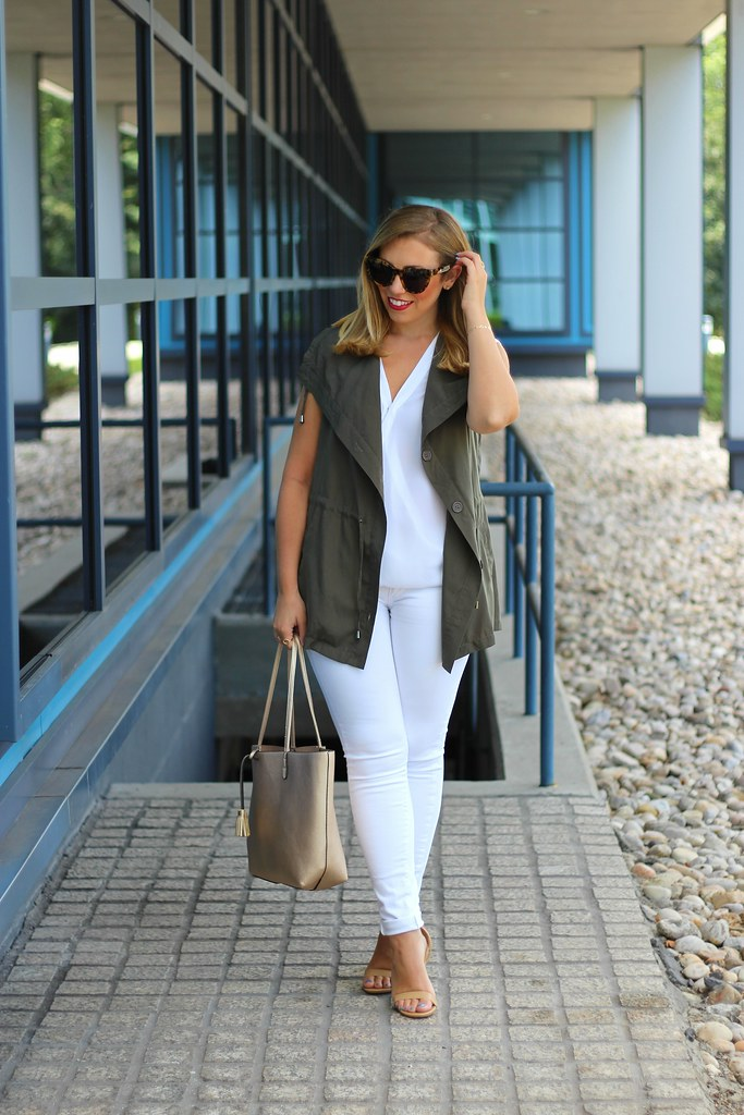 White Jeans | Olive Green Vest | Fall Fashion