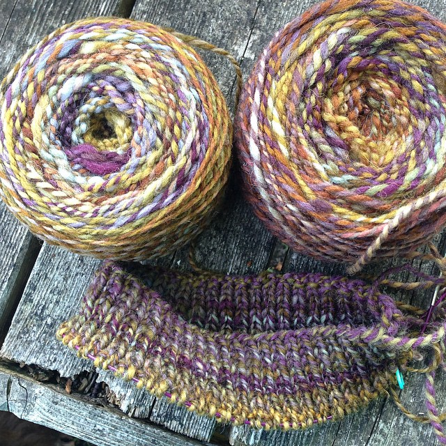 "Handspun beginnings, potential #rhinebecksweater - #helloyarn ""Gobbler"" on Cheviot. #spinnersofinstagram"