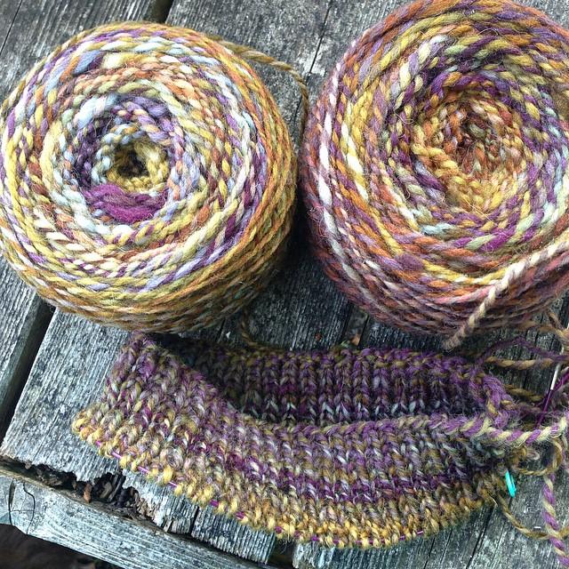 "Handspun beginnings, potential #rhinebecksweater - #helloyarn ""Gobbler"" on Cheviot. #spinnersofinstagram"