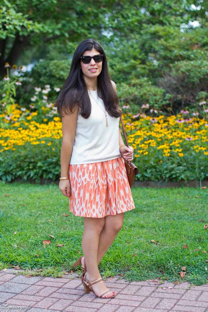 orange ikat skirt, beaded silk shell, brown sandals-5.jpg