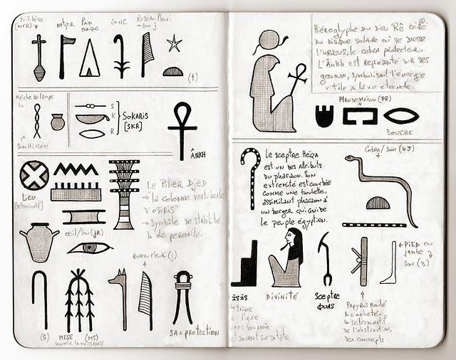Carnet de voyage hiéroglyphique pages 02 & 03
