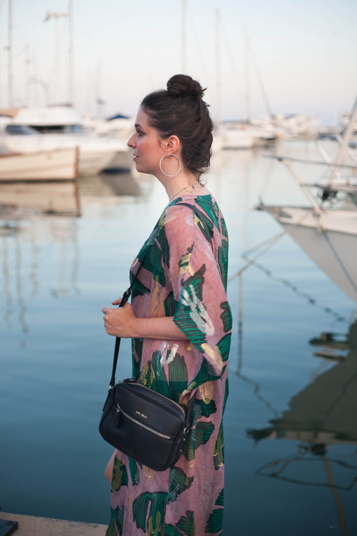outfit; silk kaftan in Juan Les Pins harbor