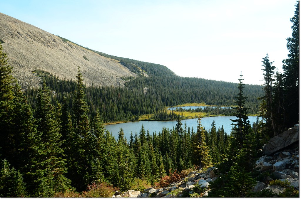 Looking down to Mitchell Lake from the trail 1