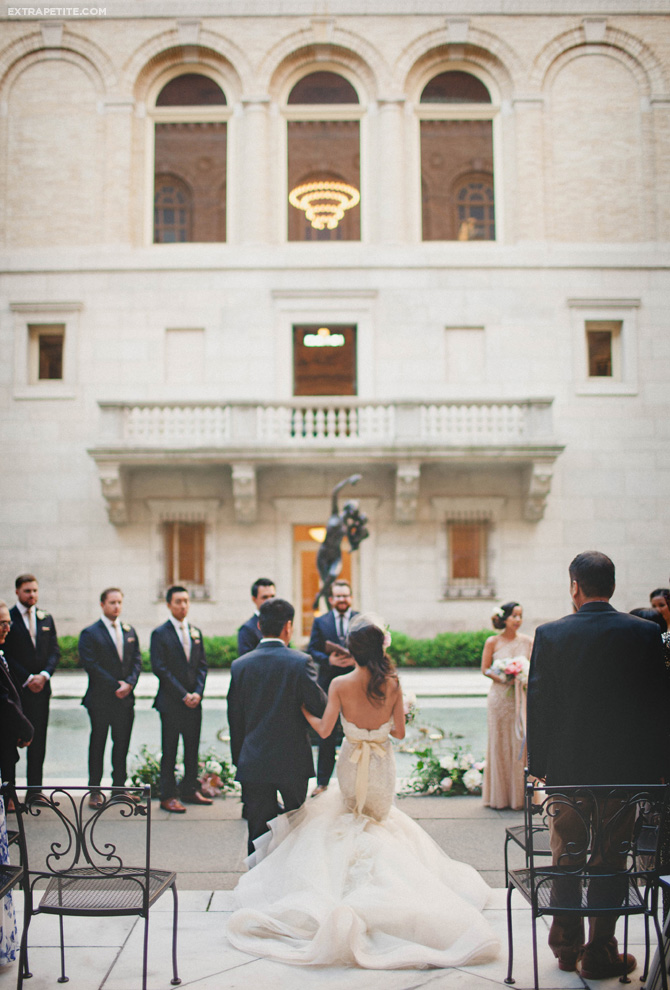 boston library courtyard wedding dress