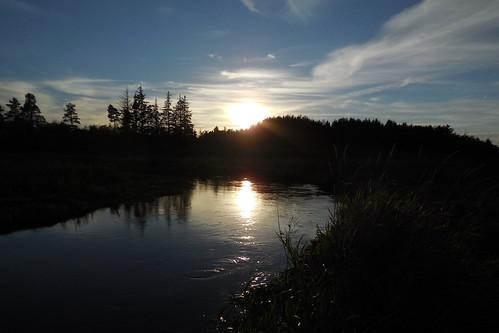 sunset sun sol water reflex nikon stream å solnedgang vand refleks karupå s6400