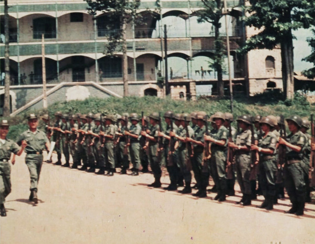 Phu Cuong 1970 - MG Phan Trong Chinh reviews the Honor Guard during his visit to the RVN Engineer School