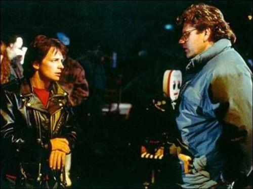 Back to the Future - backstage - Michael J. Fox and Robert Zemeckis