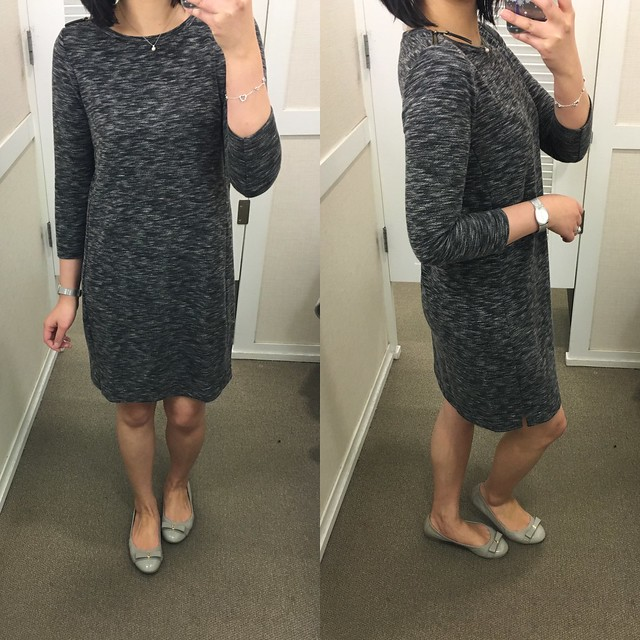 LOFT Marled Shoulder Zip Dress