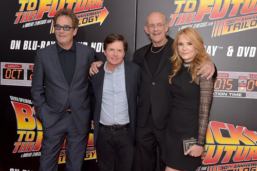 Back to the Future - Anniversary Photo - Huey Lewis, Michael J. Fox, Christopher Lloyd and Lea Thompson