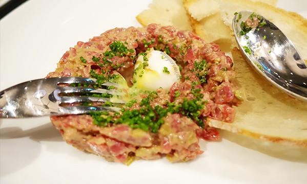 13 Steak Tartare, Soft Boiled Quails Egg, Bread Chips