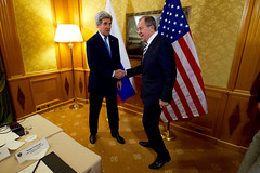 U.S. Secretary of State John Kerry shakes hands with Russian Foreign Minister Sergey Lavrov on December 2, 2016, at the Parco dei Principe Hotel in Rome, Italy, before a bilateral meeting on the sidelines of an an Italian-hosted multinational meeting focused on Mediterranean issues. [State Department photo/ Public Domain]