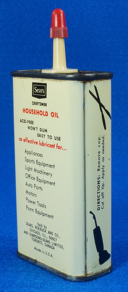 RD14508 Vintage SEARS Craftsman Household Oil 4oz Handy Oiler Can DSC06173