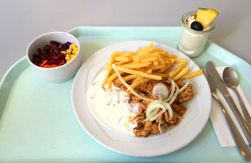 Turkey gyros with fresh onions, tzatziki & french fries / Puten-Gyros mit frischen Zwiebeln, Tzatziki & Pommes Frites