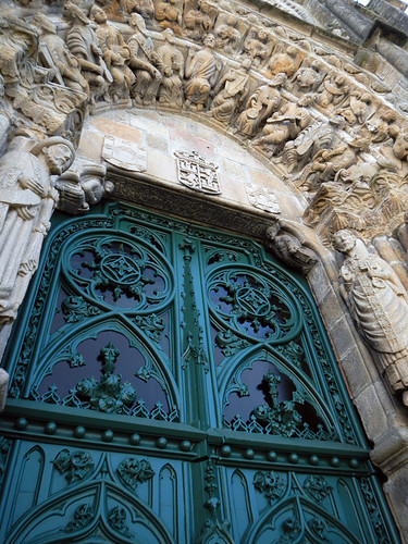 The door to the cathedral in Noia, Spain