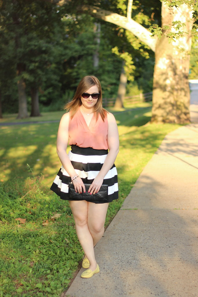 Striped Cupcake Skirt and Hello Sunshine shoes from Modcloth