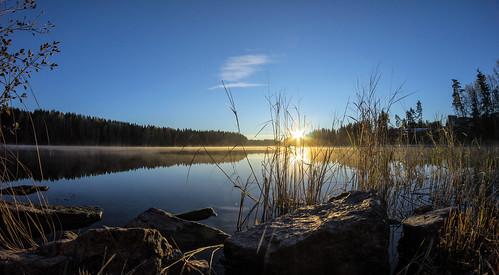 autumn sunrise finland river fisheye serene kouvola koria samyang kymijoki