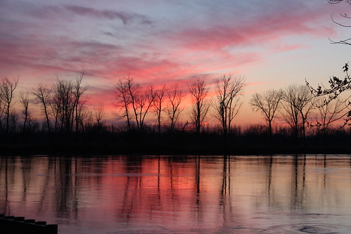 pink trees sunset sky reflection reflected missouri missouririver imperfect stjoemo saintjosephmissouri stjomo