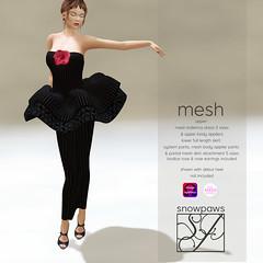 Snowpaws - Baletina Pinstripe Black Tutu Outfit with appliers