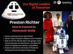"#NorthFloridaScouting ==> He just finished his #EagleScoutProject, staffed #NFCNYLT and participated in a Regional Science Fair. #Repost @tedxfscj ・・・ @preston_richter is going to share ""How to Control an Astromech Droid"". Only in #TEDxFSCJSalon #ourdigit"