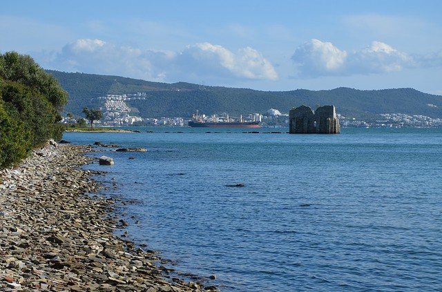 The western harbor with the ruins of a Byzantine Tower, Iassos, Caria, Turkey