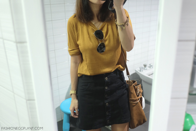 BUTTON UP MINI SKIRT OUTFIT