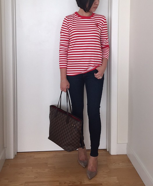 Shein Red & White Long Sleeve Striped T-Shirt, size S