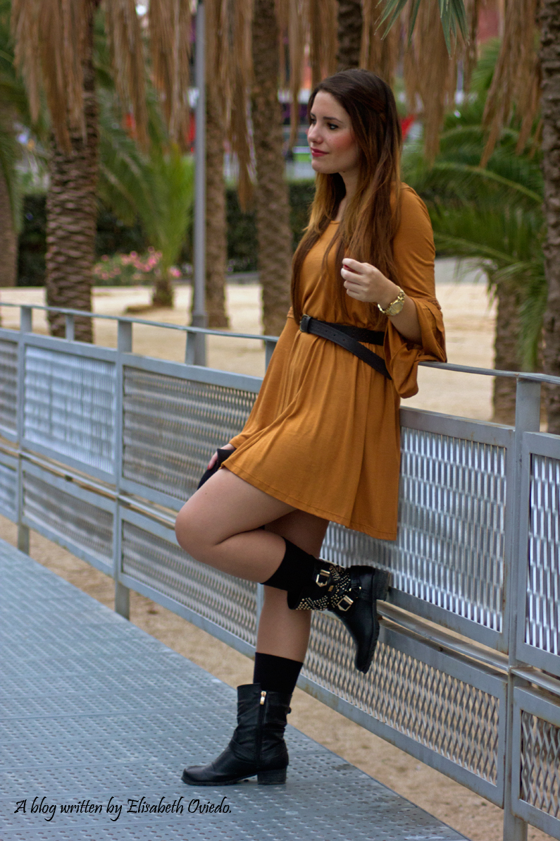 Vestido mostaza PULL AND BEAR INDITEX OTOÑO 2015 HEELSANDROSES (1)